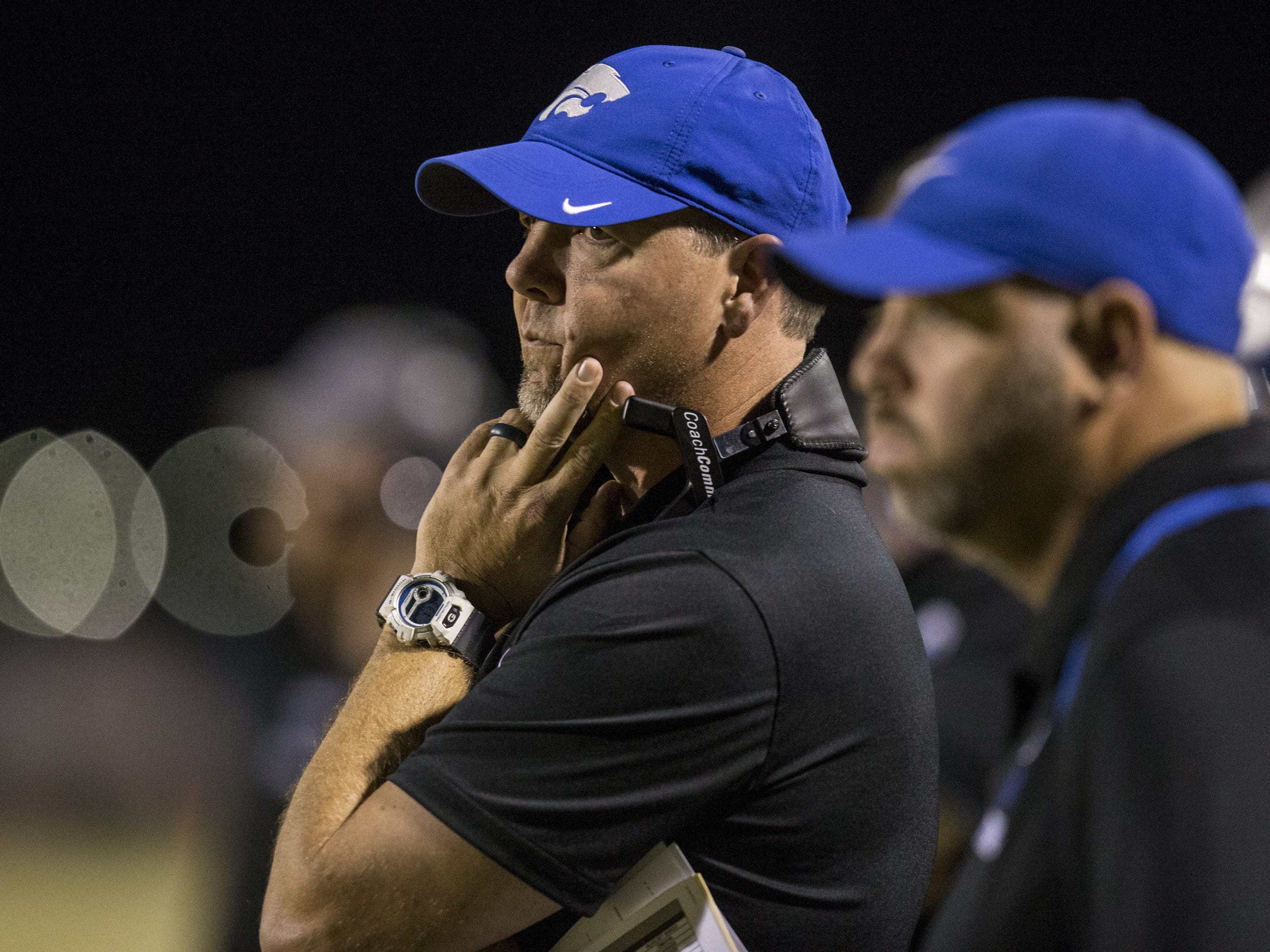 Mesquite head coach Chad DeGrenier watches the game against Saguaro in the first half on Friday, Oct. 26, 2018, at Mesquite High School in Gilbert, Ariz.  #azhsb