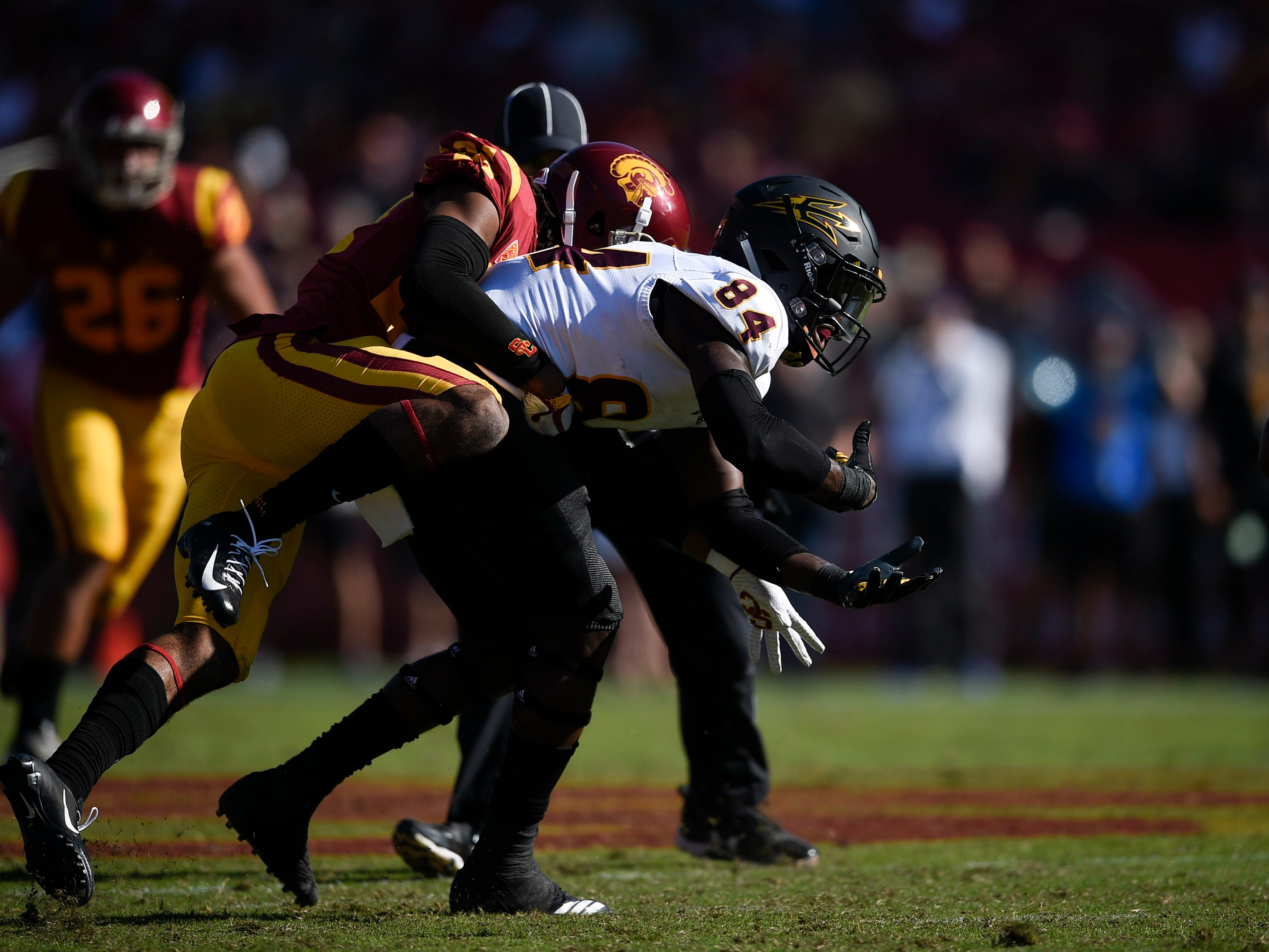 Oct 27, 2018; Los Angeles, CA, USA; Arizona State Sun Devils wide receiver Frank Darby (84) is unable to make a catch while defended by Southern California Trojans corner back Isaiah Langley (24) during the second half at Los Angeles Memorial Coliseum. Mandatory Credit: Kelvin Kuo-USA TODAY Sports
