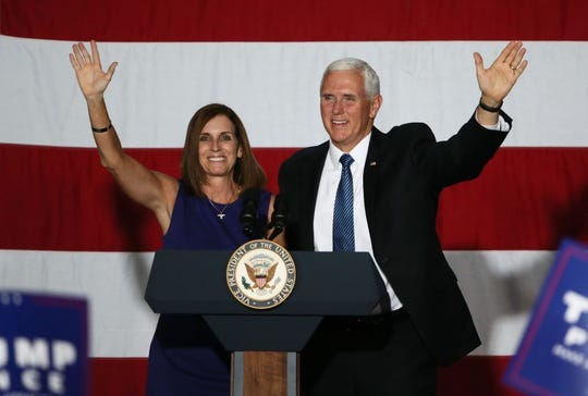 Vice President Mike Pence stumps for Republican Senate candidate Martha McSally on Oct. 26, 2018 in Yuma.