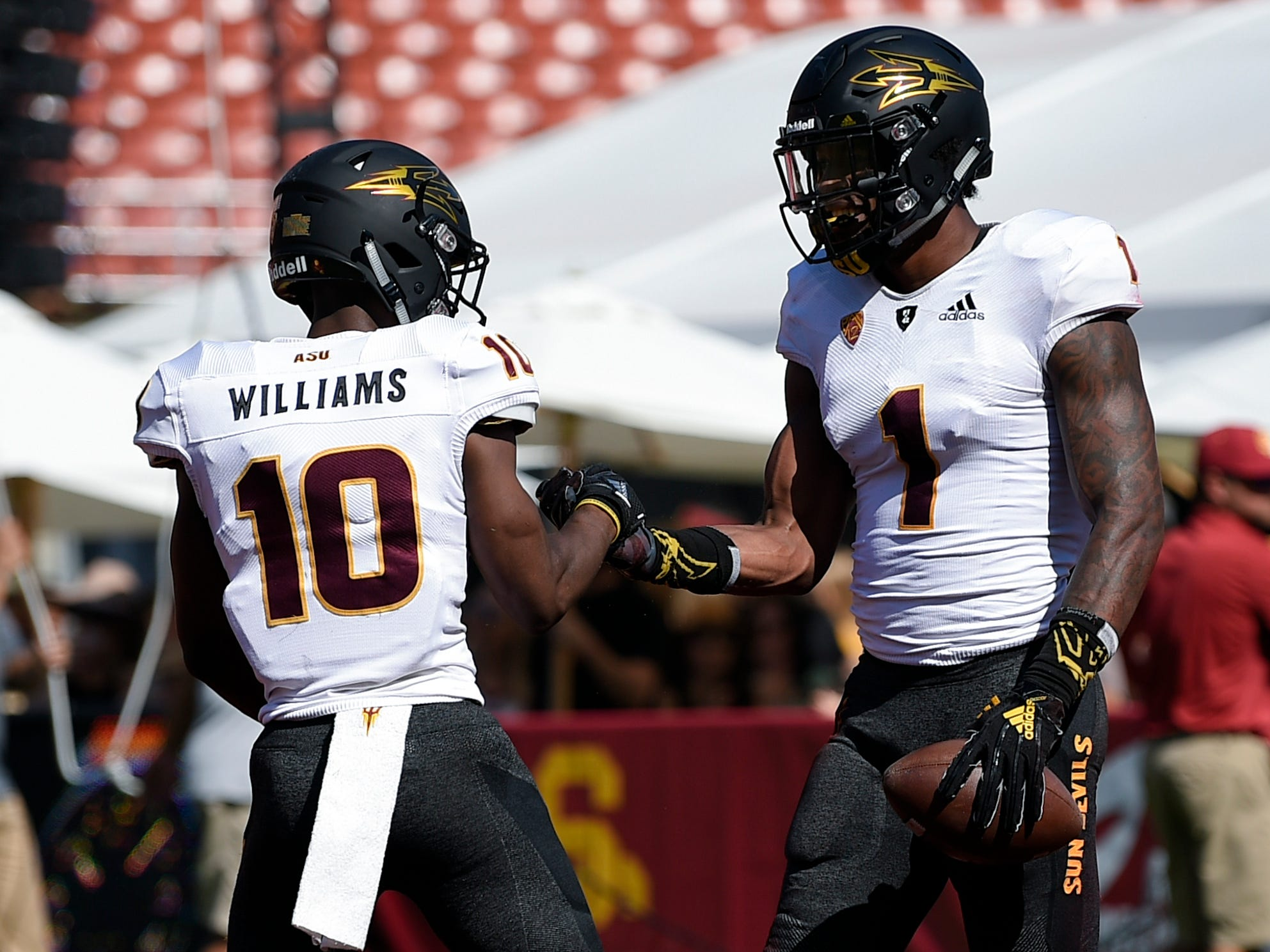Oct 27, 2018; Los Angeles, CA, USA; Arizona State Sun Devils wide receiver N'Keal Harry (1) celebrates after his touchdown during the first half against the Southern California Trojans at Los Angeles Memorial Coliseum. Mandatory Credit: Kelvin Kuo-USA TODAY Sports