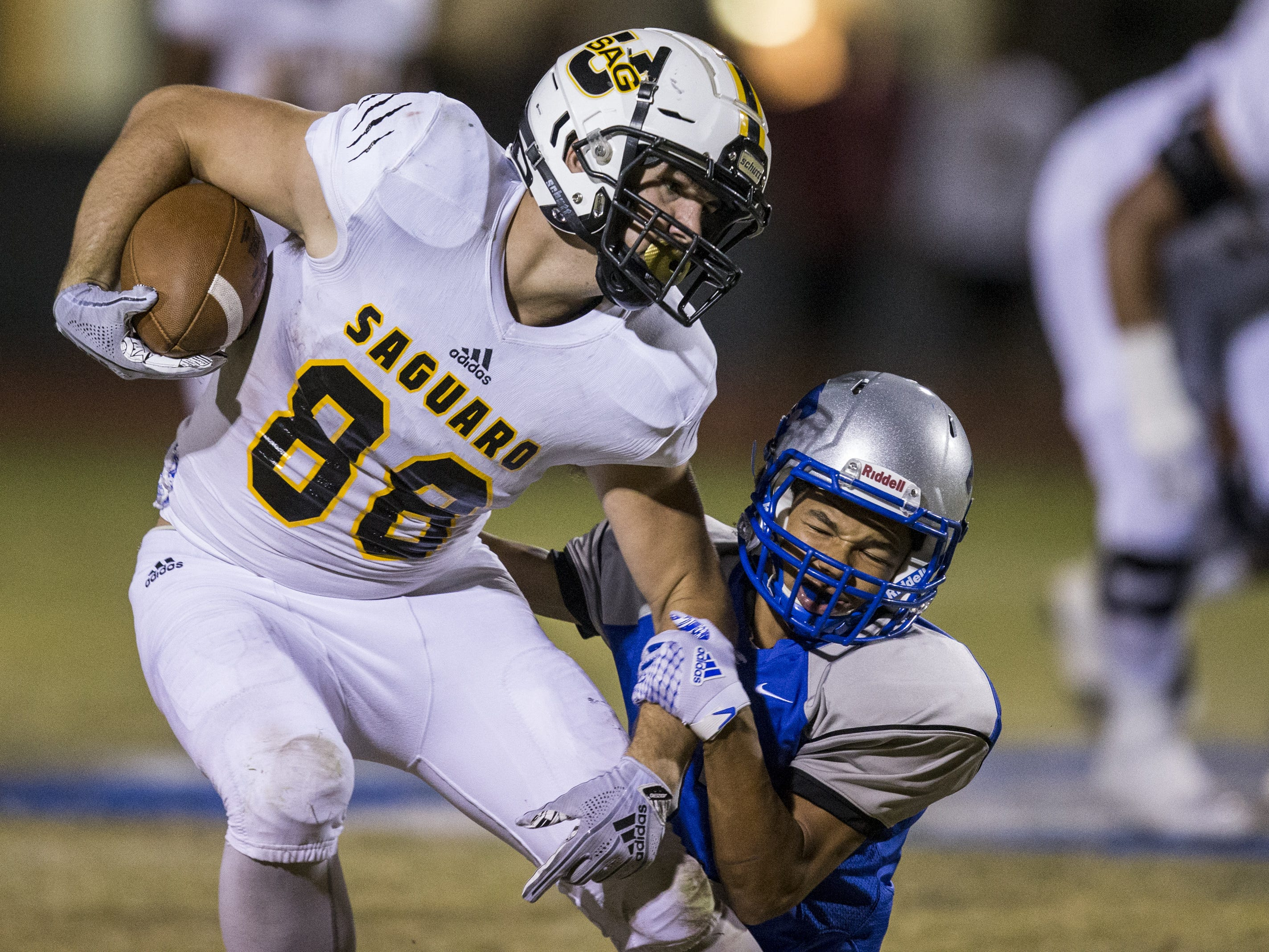 Saguaro's Hayden Hatten runs after a reception against Mesquite in the first half on Friday, Oct. 26, 2018, at Mesquite High School in Gilbert, Ariz.  #azhsb