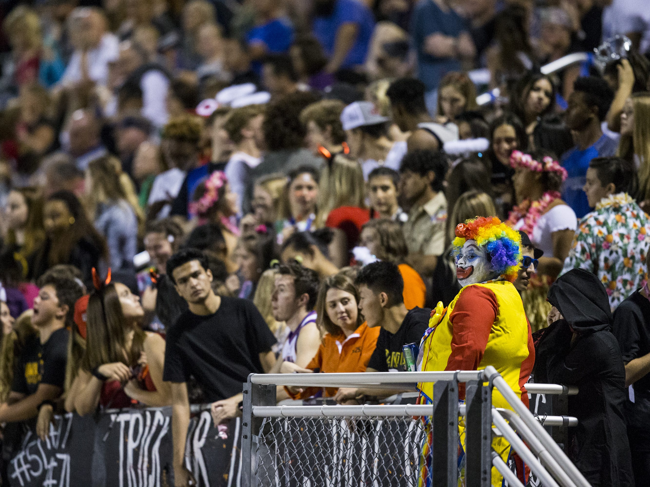 Mesquite fans watch the game against Saguaro in the first half on Friday, Oct. 26, 2018, at Mesquite High School in Gilbert, Ariz.  #azhsb