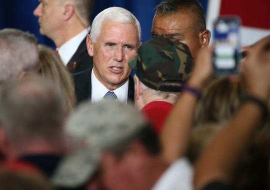 Vice President Mike Pence visits with supporters as he stumps for Republican U.S. Senate candidate Martha McSally on Oct. 26, 2018, in Yuma, Arizona.