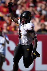 Oct 27, 2018; Los Angeles, CA, USA; Arizona State Sun Devils running back Eno Benjamin (3) celebrates after rushing for a touchdown during the first half against the Southern California Trojans at Los Angeles Memorial Coliseum. Mandatory Credit: Kelvin Kuo-USA TODAY Sports
