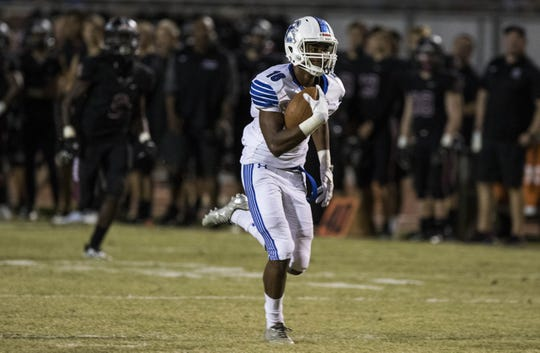 Chandler's Jalen Richmond scores easily on a long pass against Hamilton's during their game in Chandler, Friday, Oct. 26, 2018. #azhsfb