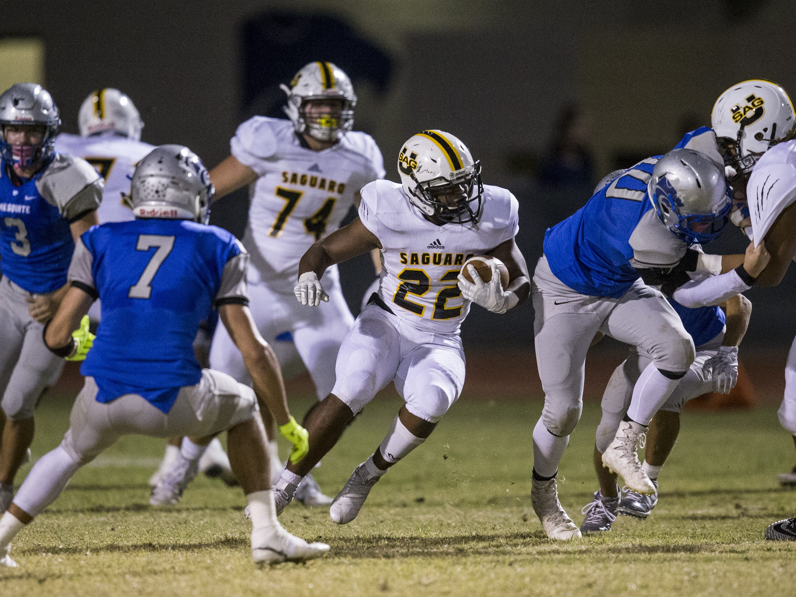 Saguaro's Israel Benjamin rushes against Mesquite in the first half on Friday, Oct. 26, 2018, at Mesquite High School in Gilbert, Ariz.  #azhsb
