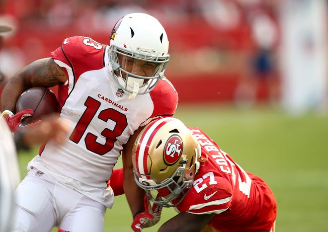 Arizona Cardinals wide receiver Christian Kirk (13) runs against San Francisco 49ers defensive back Adrian Colbert (27) during the first half of an NFL football game in Santa Clara, Calif., Sunday, Oct. 7, 2018.