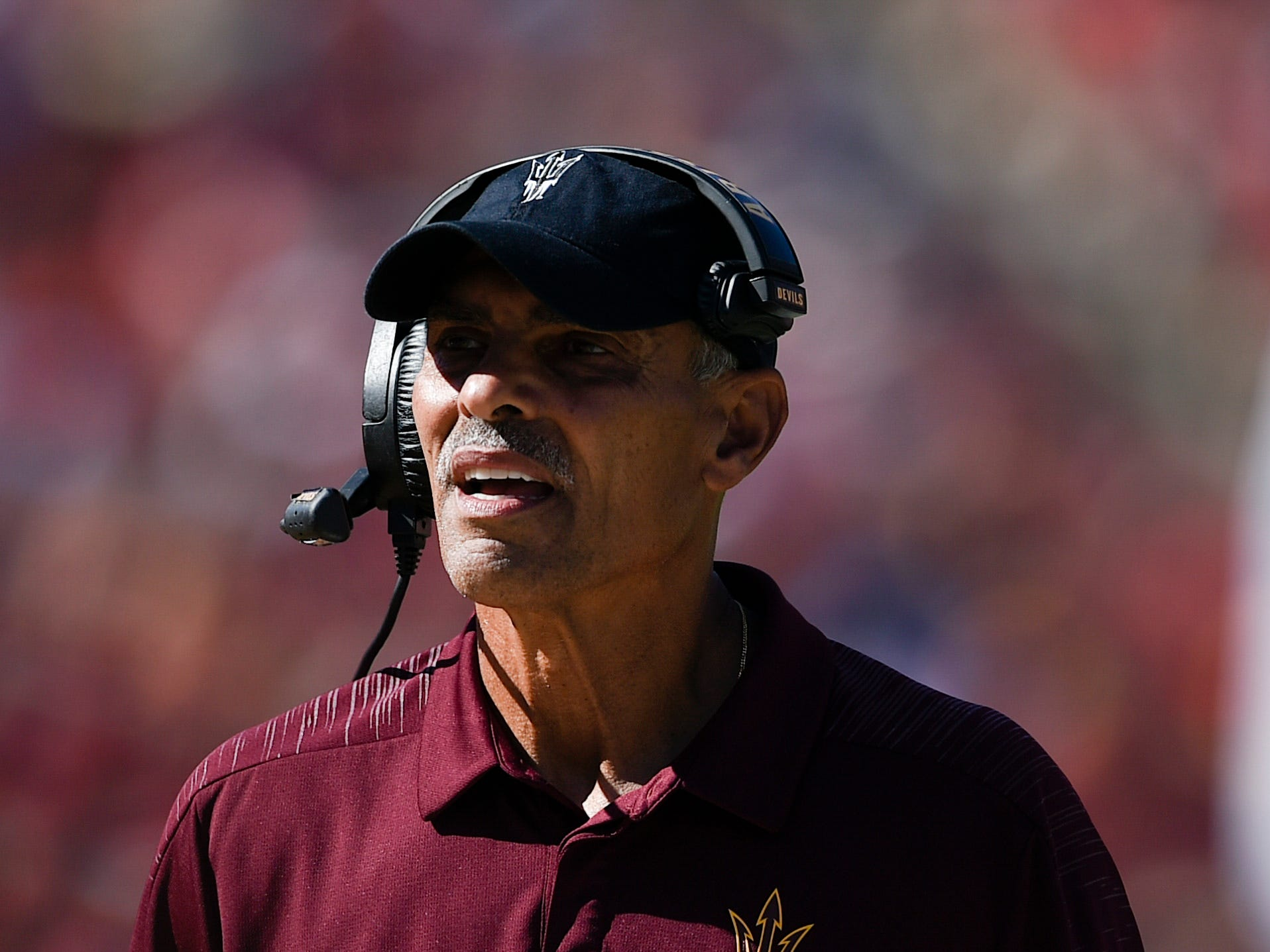 Oct 27, 2018; Los Angeles, CA, USA; Arizona State Sun Devils head coach Herm Edwards looks on from the sidelines during the first half against the Southern California Trojans at Los Angeles Memorial Coliseum. Mandatory Credit: Kelvin Kuo-USA TODAY Sports