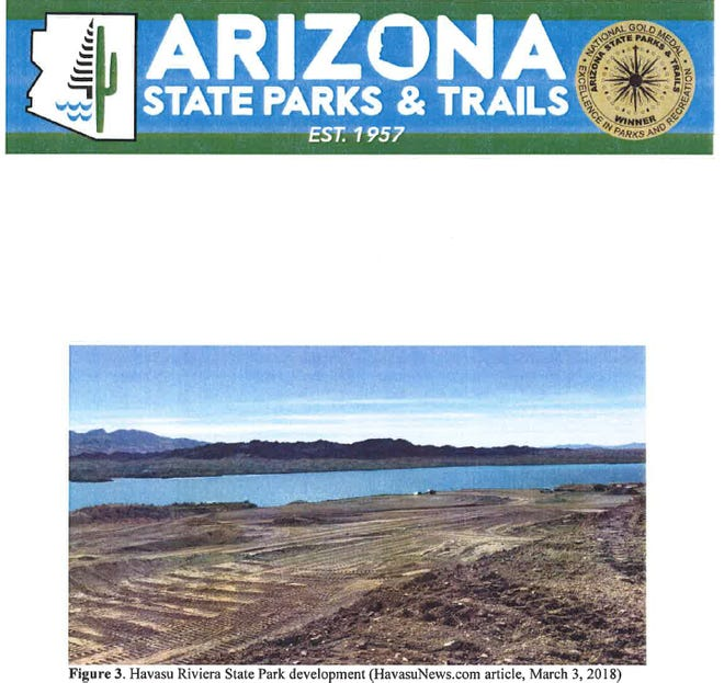 This photo from state Parks documents shows land at Havasu Riviera State Park that was bulldozed. Former Parks archaeologist Will Russell said the state agency might not have followed protocol in determining if archaeological sites were disturbed.