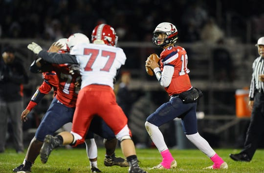 Lebanon QB Isaiah Rodriguez(10) drops back to pass in the first quarter of a game played Friday Oct.26, 2018 at Lebanon's Alumni Stadium.