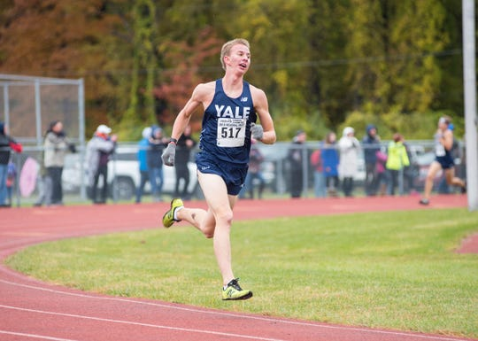Yale High School sophomore Matthew McClelland nears the finish line in the Division 2 regional cross country race Saturday, Oct. 27, 2018, at Algonac High School.