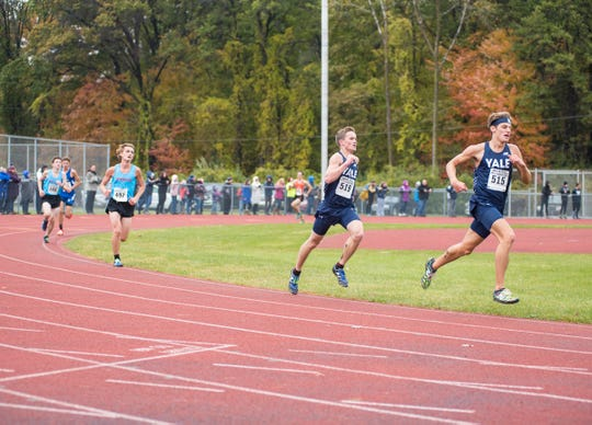Yale runner Justin Kudera (515), shown here in the fall running in the cross country regional, is the Athlete of the Week after winning the 400-meter run, 1,600 relay and the long jump at the Division 2 track state finals.