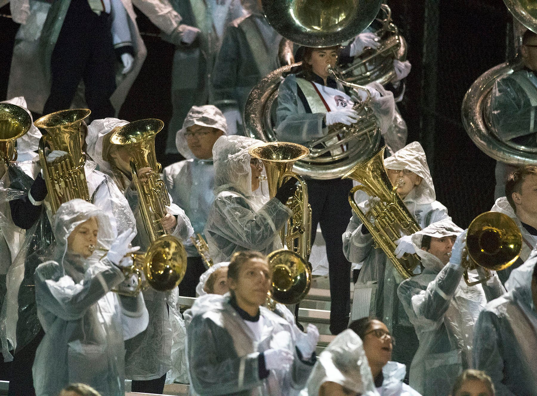 Chambersburg Marching Band plays in the rain during a 26-20 Trojan victory on Friday, October 26, 2018.