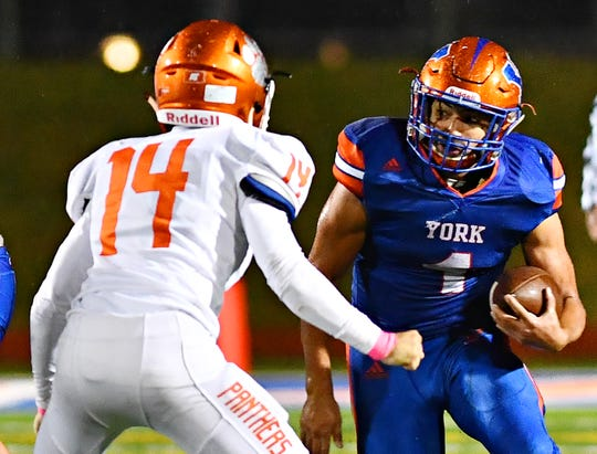 York High running back Dayjure Stewart leads the York-Adams League with 2,240 yards and 32 touchdowns. He totaled 309 scrimmage yards and four scores on 29 touches in a 54-14 victory Friday over Central York.