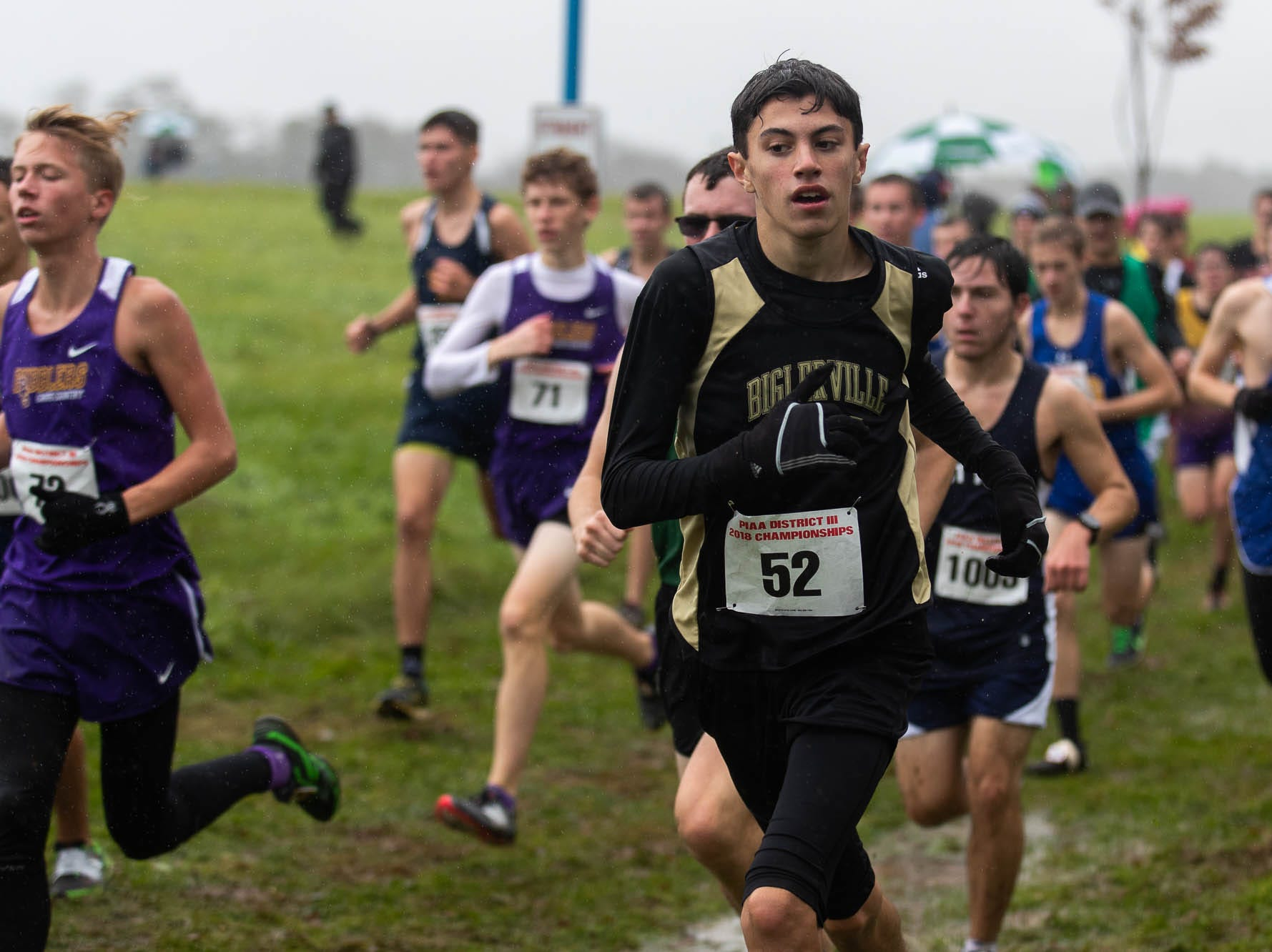 Biglerville's Kalani Crum (52) races in the Boys AA race during the PIAA District III Cross Country Championship, Saturday, Oct. 27, 2018, at Big Spring High School in Newville.