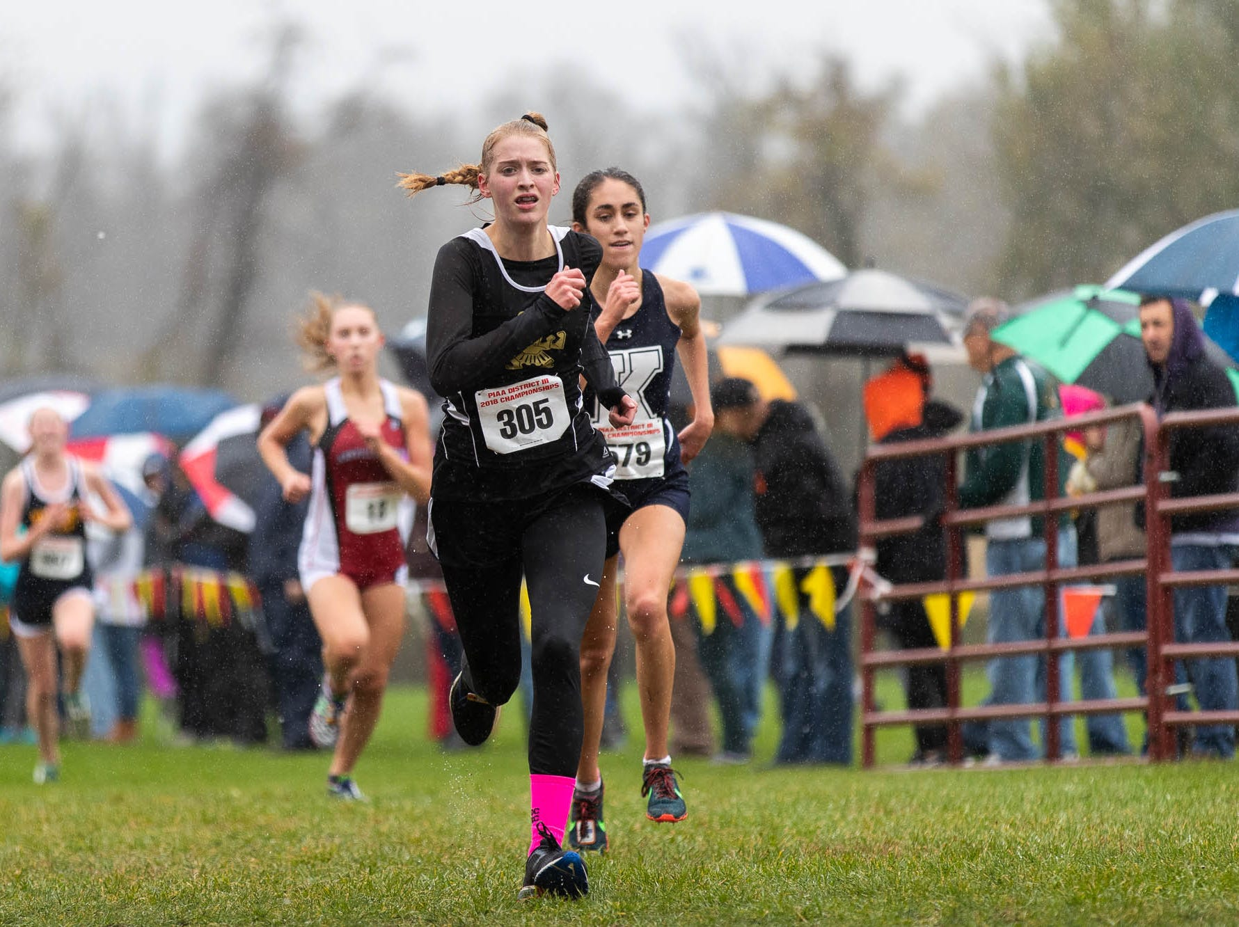 Delone's Julia Obrien (305) places fourth in the Girls A during the PIAA District III Cross Country Championship, Saturday, Oct. 27, 2018, at Big Spring High School in Newville.