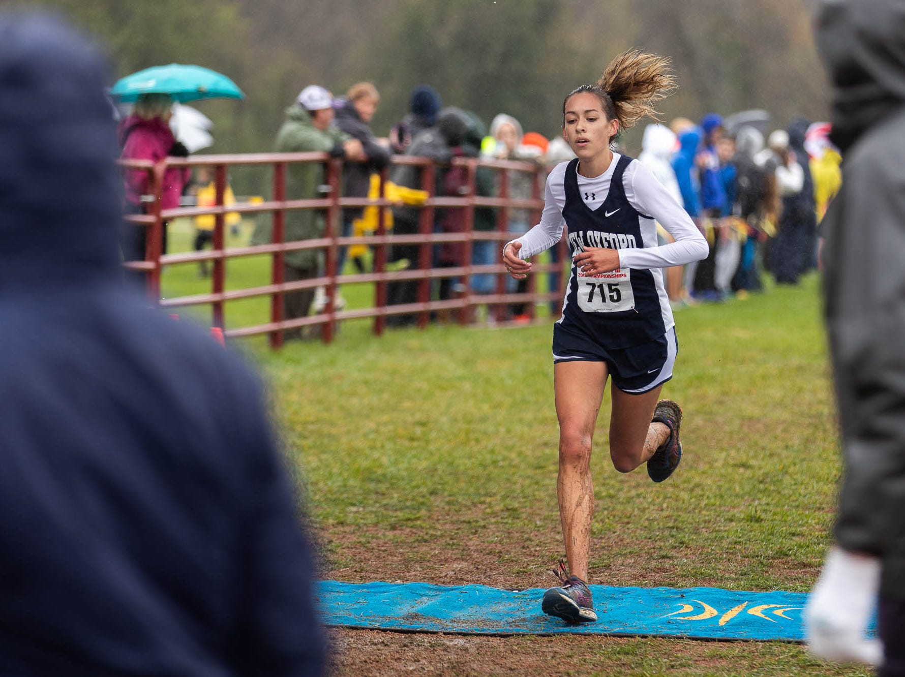New Oxford's Tori Richter races in the Girls AAA race during the PIAA District III Cross Country Championship, Saturday, Oct. 27, 2018, at Big Spring High School in Newville.