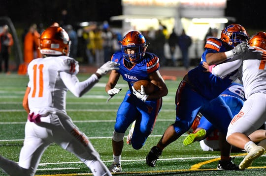Dayjure Stewart (1) has room to rush during the YAIAA Division I title game at Smalls Athletic Field, Friday, October 26, 2018. The York High Bearcats defeated the Central York Panthers 54-14.