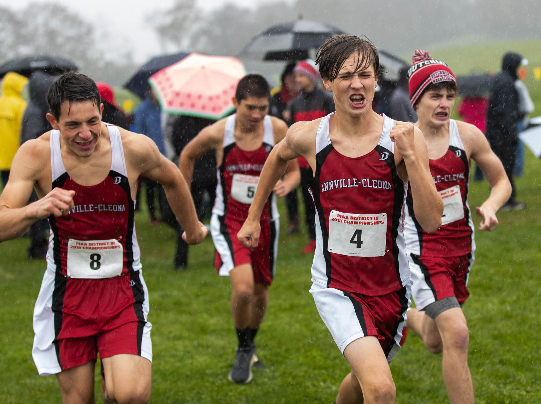 Annville-Cleona's Boys AA team warms up during the PIAA District III Cross Country Championship, Saturday, Oct. 27, 2018, at Big Spring High School in Newville.
