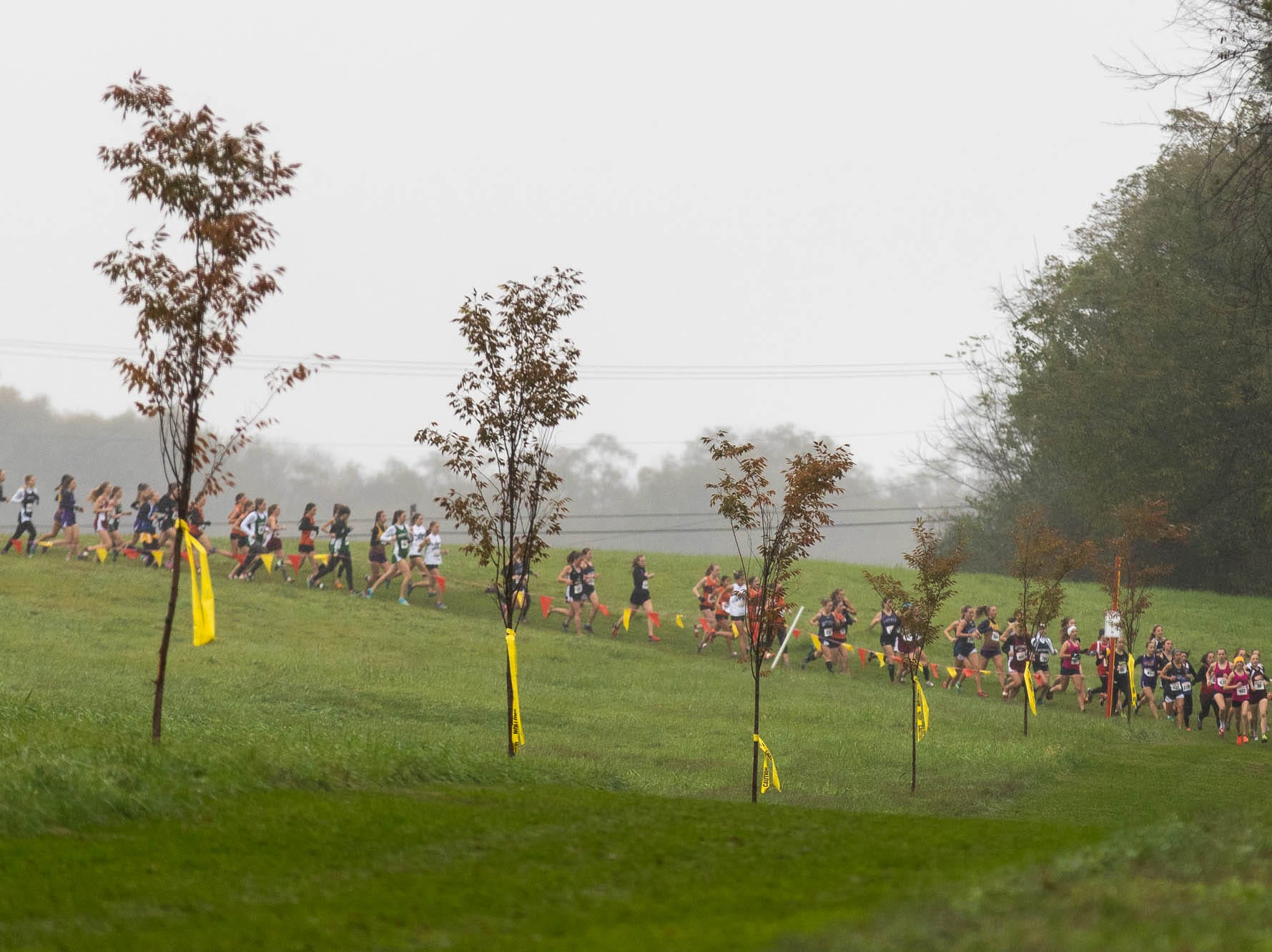 Runners in the Girls AA race round the first corner during the PIAA District III Cross Country Championship, Saturday, Oct. 27, 2018, at Big Spring High School in Newville.