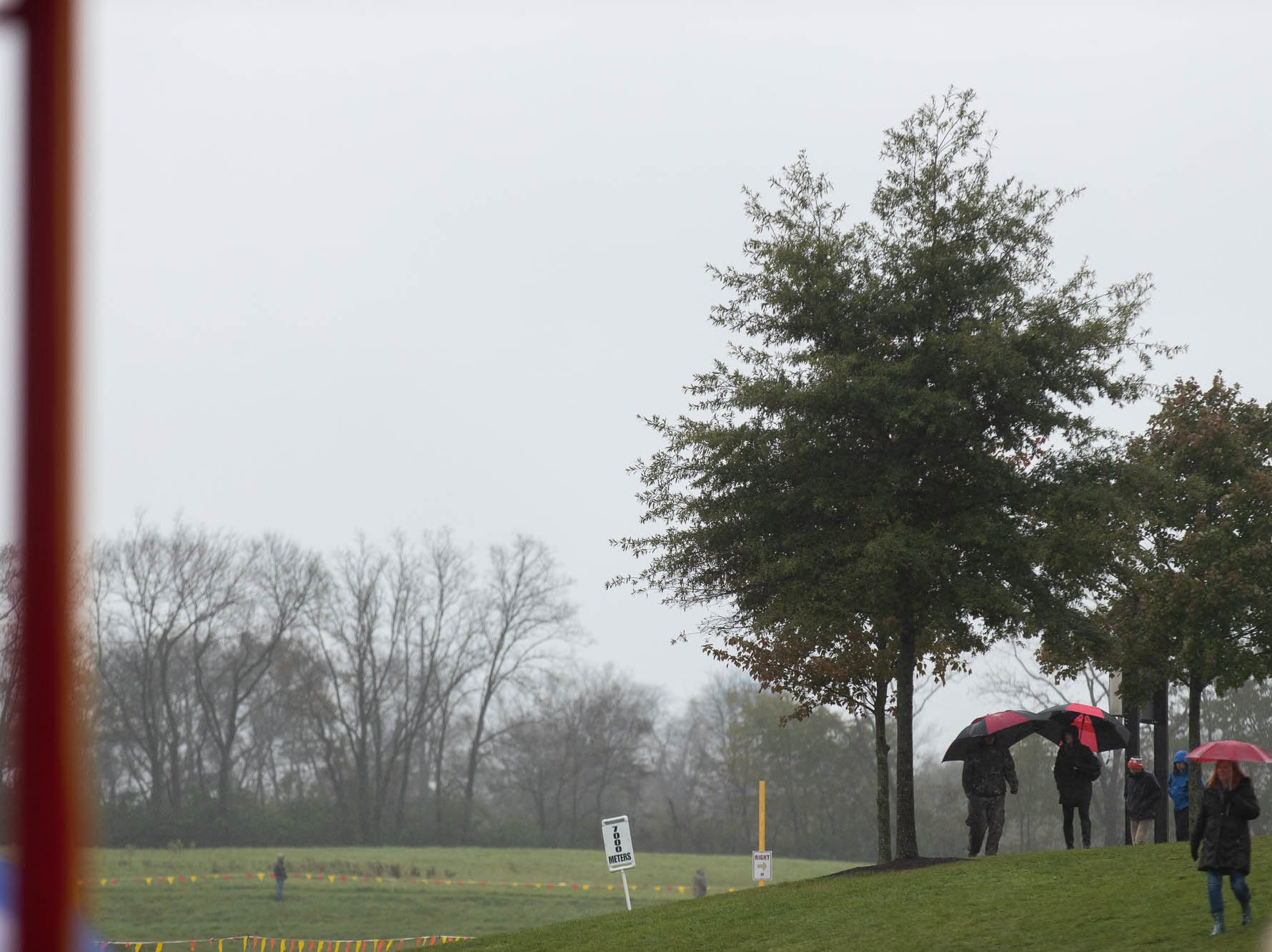 Spectators watch under umbrellas during the PIAA District III Cross Country Championship, Saturday, Oct. 27, 2018, at Big Spring High School in Newville.