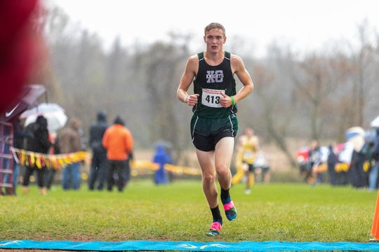 Fairfield's John Whitcomb (413) finishes third in the Boys A race during the PIAA District III Cross Country Championship, Saturday, Oct. 27, 2018, at Big Spring High School in Newville.