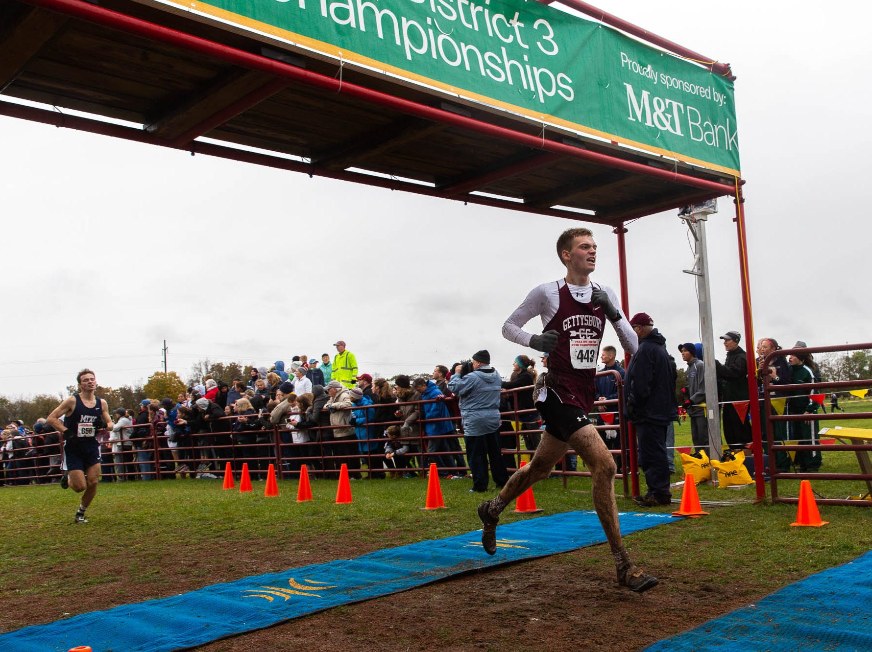Gettysburg's Andrew Hirneisen (443) finishes 14th during the PIAA District III Cross Country Championship, Saturday, Oct. 27, 2018, at Big Spring High School in Newville.