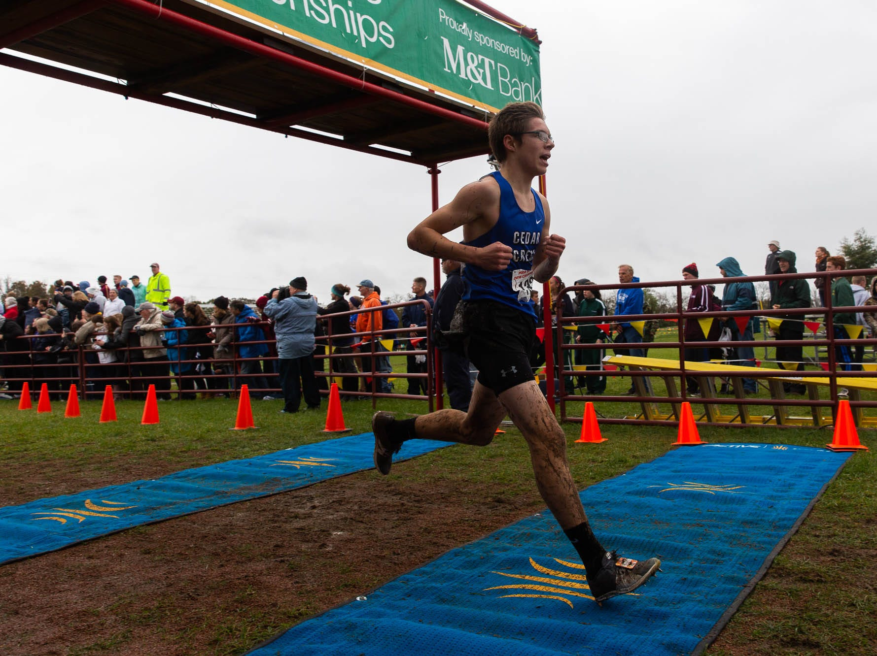 Cedar Crest's Tommy Bildheiser (132) finishes 9th in the Boys AAA race during the PIAA District III Cross Country Championship, Saturday, Oct. 27, 2018, at Big Spring High School in Newville.