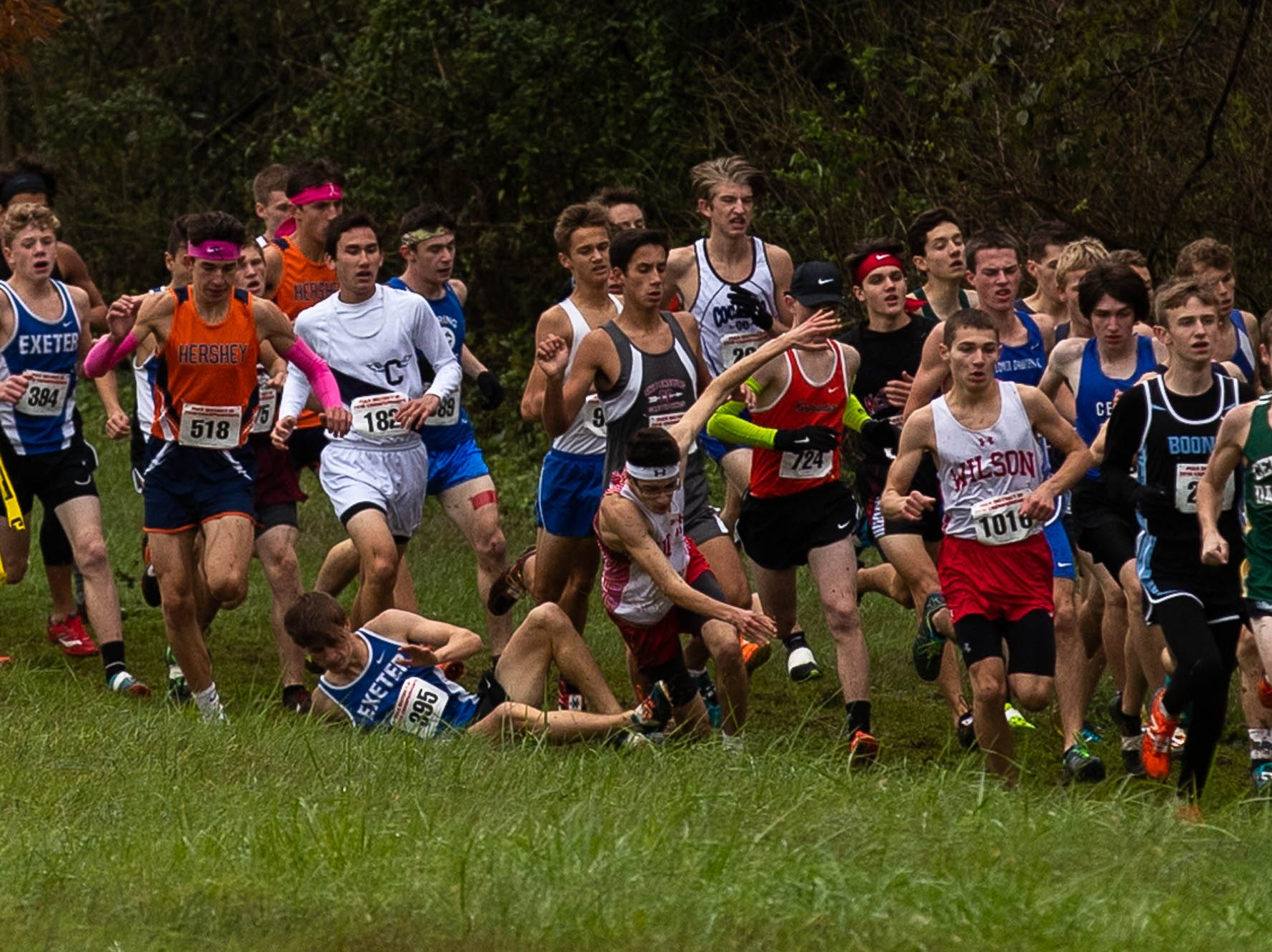 Numerous runners wipe out while rounding the first turn of the Boys AAA race during the PIAA District III Cross Country Championship, Saturday, Oct. 27, 2018, at Big Spring High School in Newville.