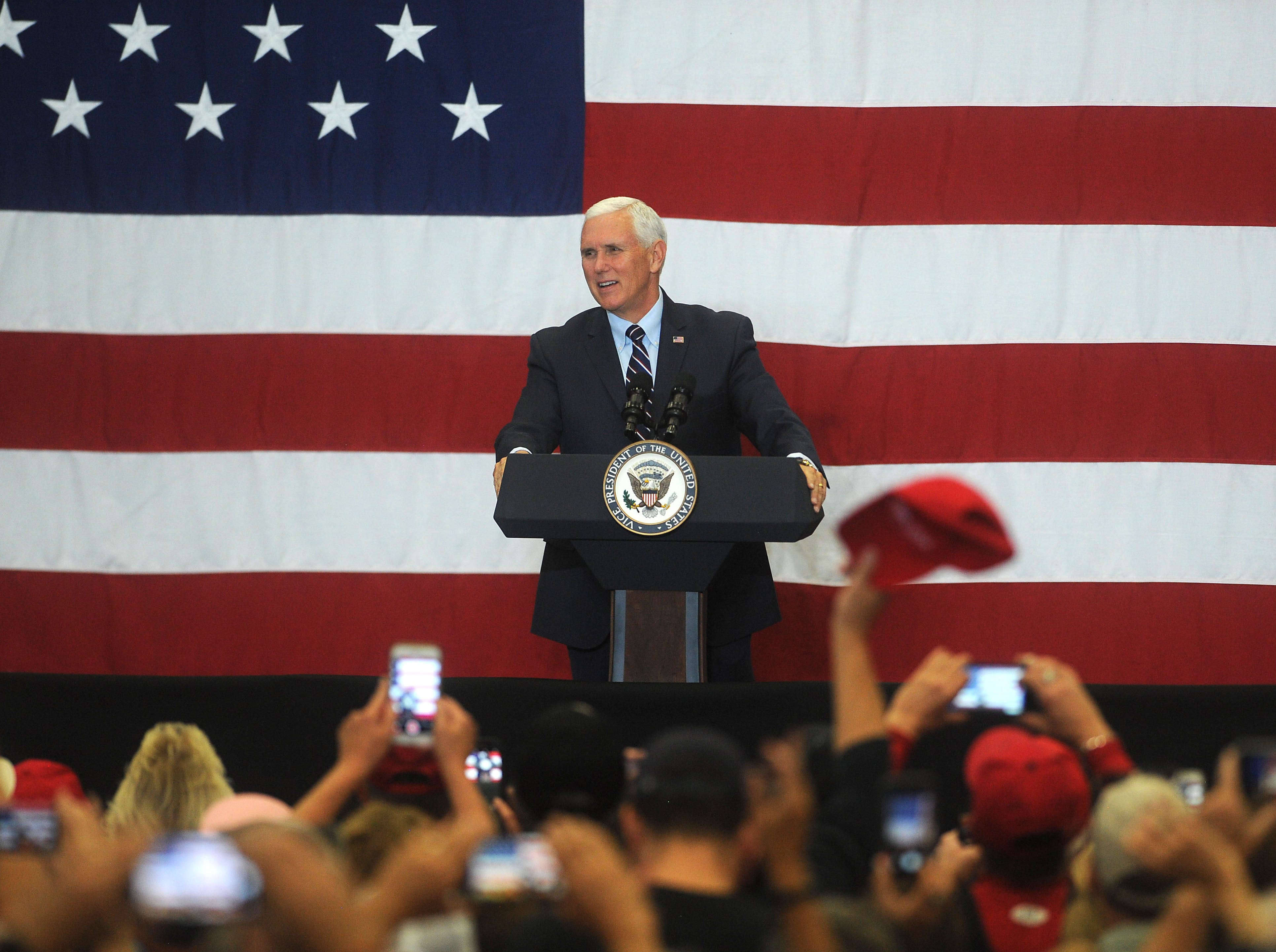 Vice President Mike Pence speaks at the Carson City Airport on Oct. 27, 2018.
