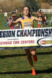 South Tahoe's Carissa Buchholz crosses the finish line Friday in the 3A race.