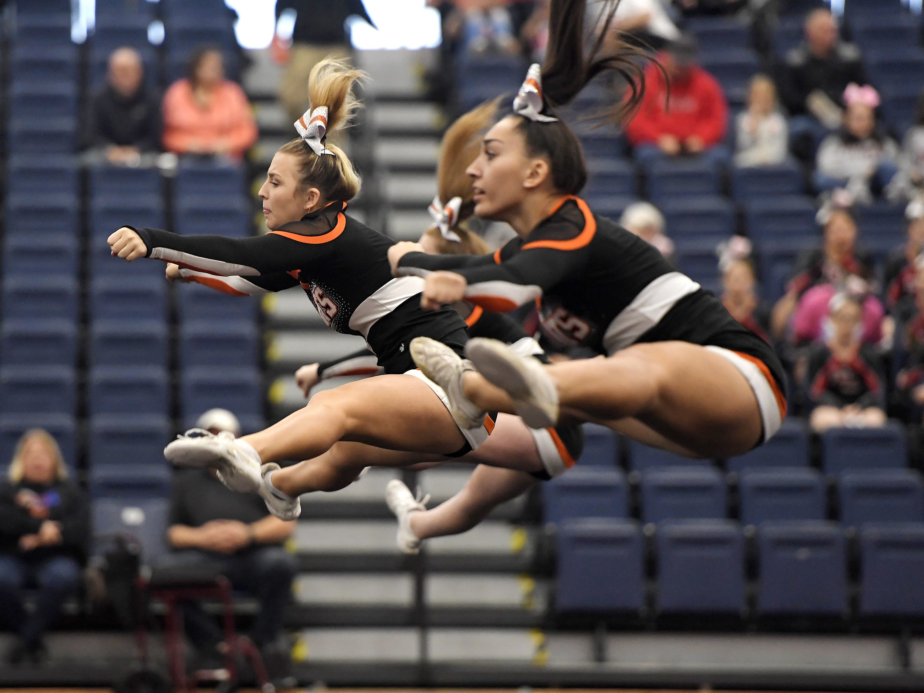 Churchville-Chili cheerleaders perform their routine during the Section V Fall Cheerleading Championships at RIT, Saturday, Oct. 27, 2018.