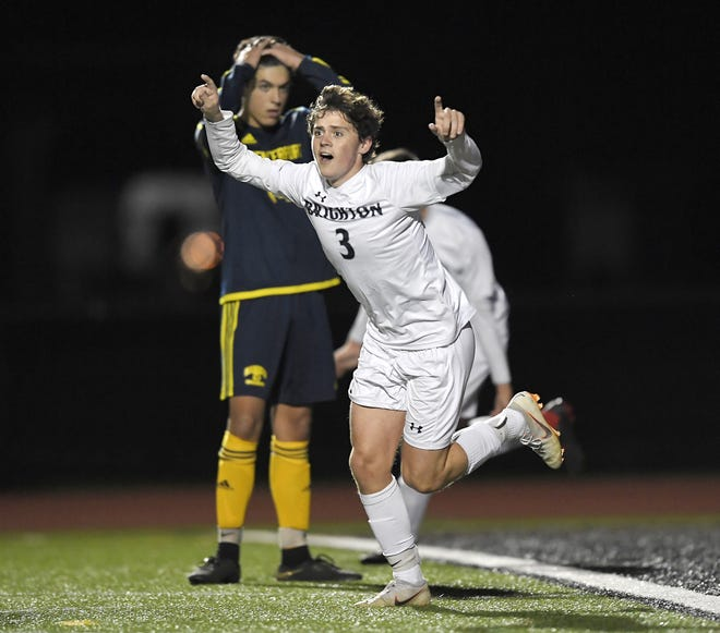 Brighton's Mat Ochs celebrates the Barons' second half goal by Caio De Medeiros during a Class A sectional semifinal played at Hilton High School, Friday, Oct. 26, 2018.