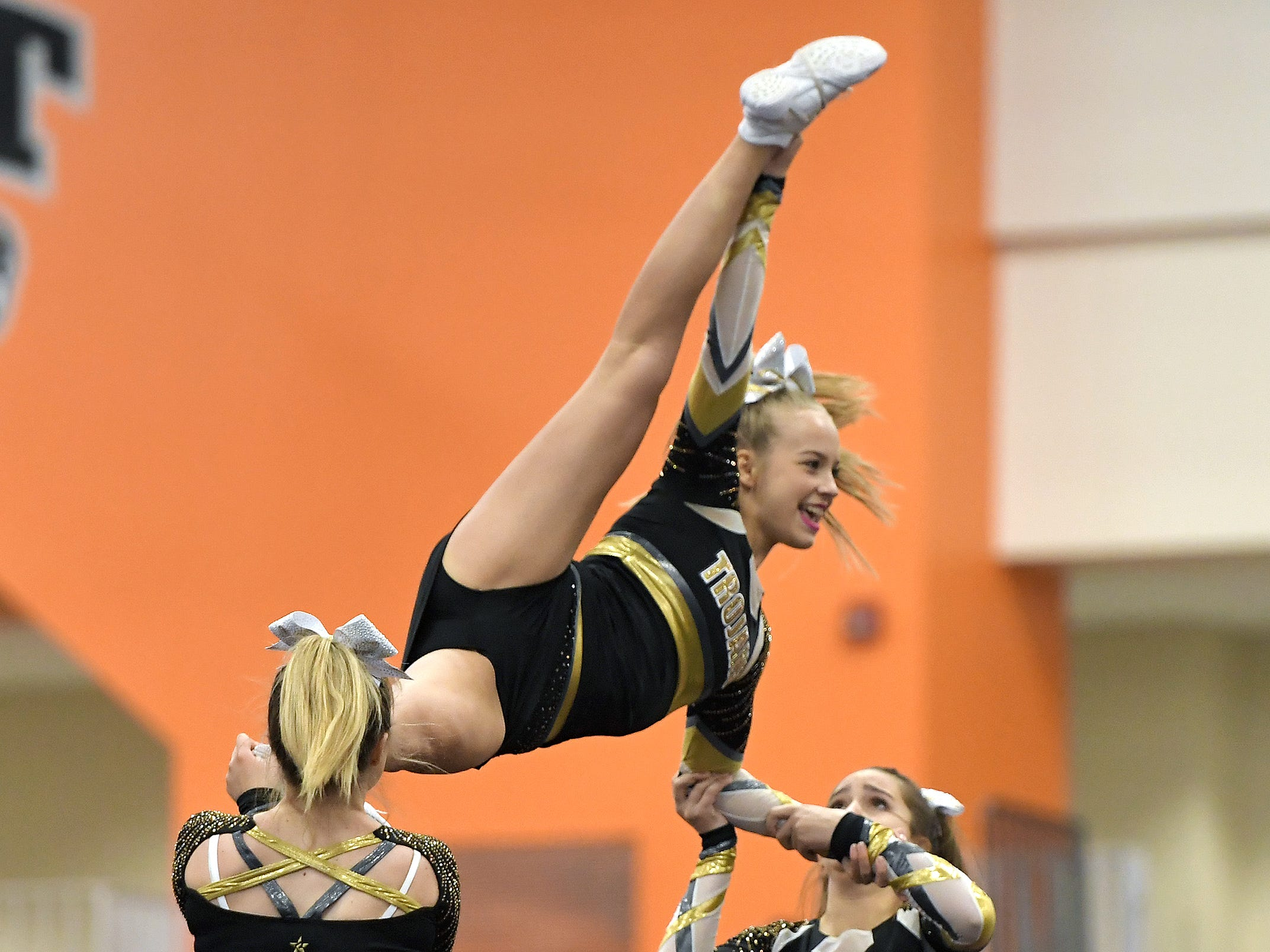 Greece Athena cheerleaders perform their routine during the Section V Fall Cheerleading Championships at RIT, Saturday, Oct. 27, 2018.
