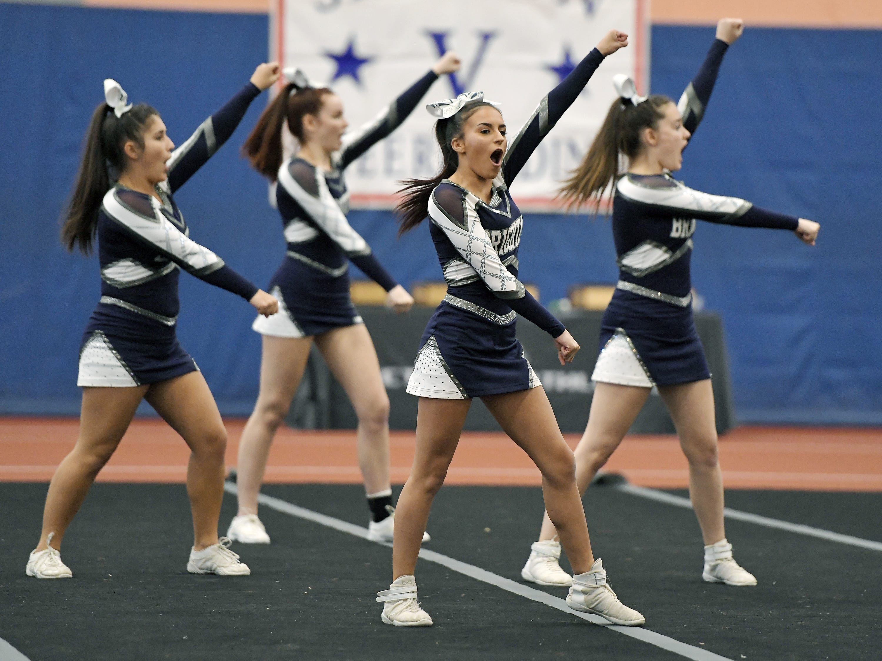 Brighton cheerleaders perform their routine during the Section V Fall Cheerleading Championships at RIT, Saturday, Oct. 27, 2018.