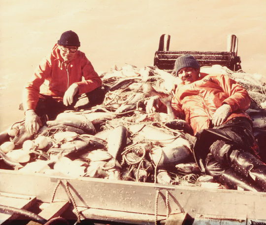 Scott Carter, right, poses with friend Dave Niles during a 1979 fishing trip in Bristol Bay, Alaska.