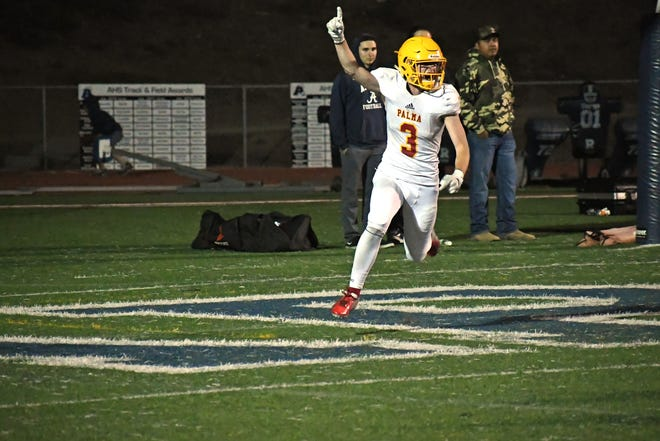 Senior wide receiver Marco Pezzini (3) celebrates one of his three touchdown catches in a shootout win against Aptos.