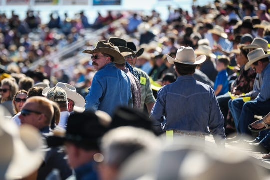 The stands fill for the calf roping event during Cinch Roping Fiesta Saturday, Oct. 27, 2018, at the Outdoor Roping Arena.
