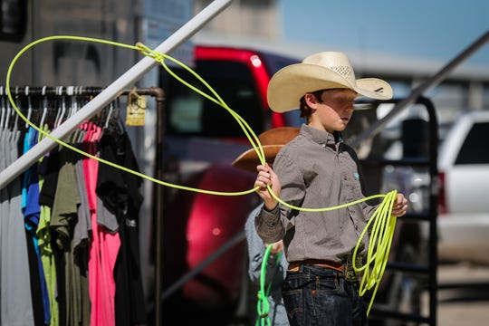 Casey Miller practices with his rope during the 2018 Cinch Roping Fiesta.