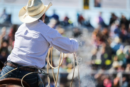 Ty Harris gets ready for his chance at calf roping during Cinch Roping Fiesta Saturday, Oct. 27, 2018, at the Outdoor Roping Arena.