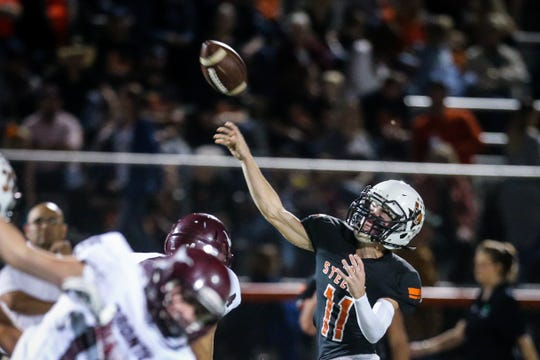 Robert Lee's Lane Fowler throws the ball during the game against Bronte Friday, Oct. 26, 2018, in Robert Lee.
