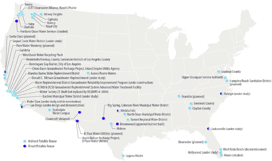 This map shows operational and proposed municipal wastewater reuse facilities in the United States as of 2017.