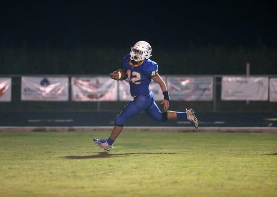 Veribest's Zach Bolin (#42) scores a touchdown Friday, Oct. 26, 2018 against Paint Rock.