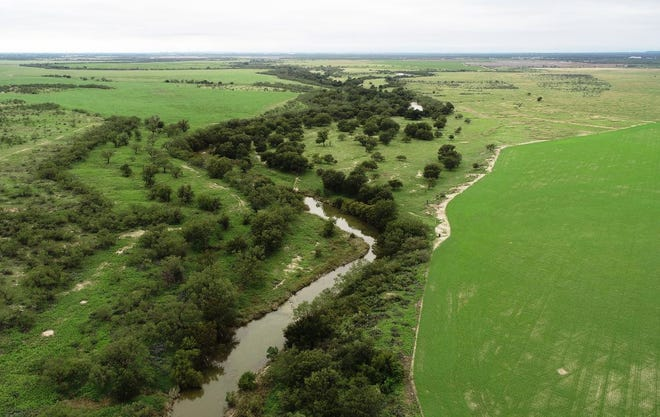 Aerial view of the Concho River toward Veribest, where part the City of San Angelo's new indirect potable reuse project would take place.