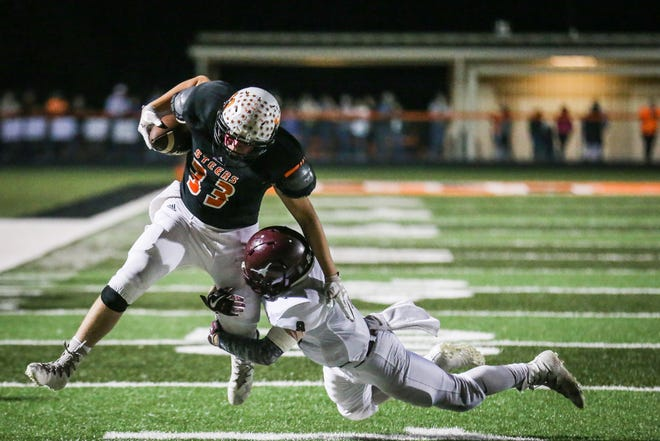 Robert Lee's Bryce Raynor is tackled during the Steers' game against longtime rival Bronte on Friday, Oct. 26, 2018, in Robert Lee.