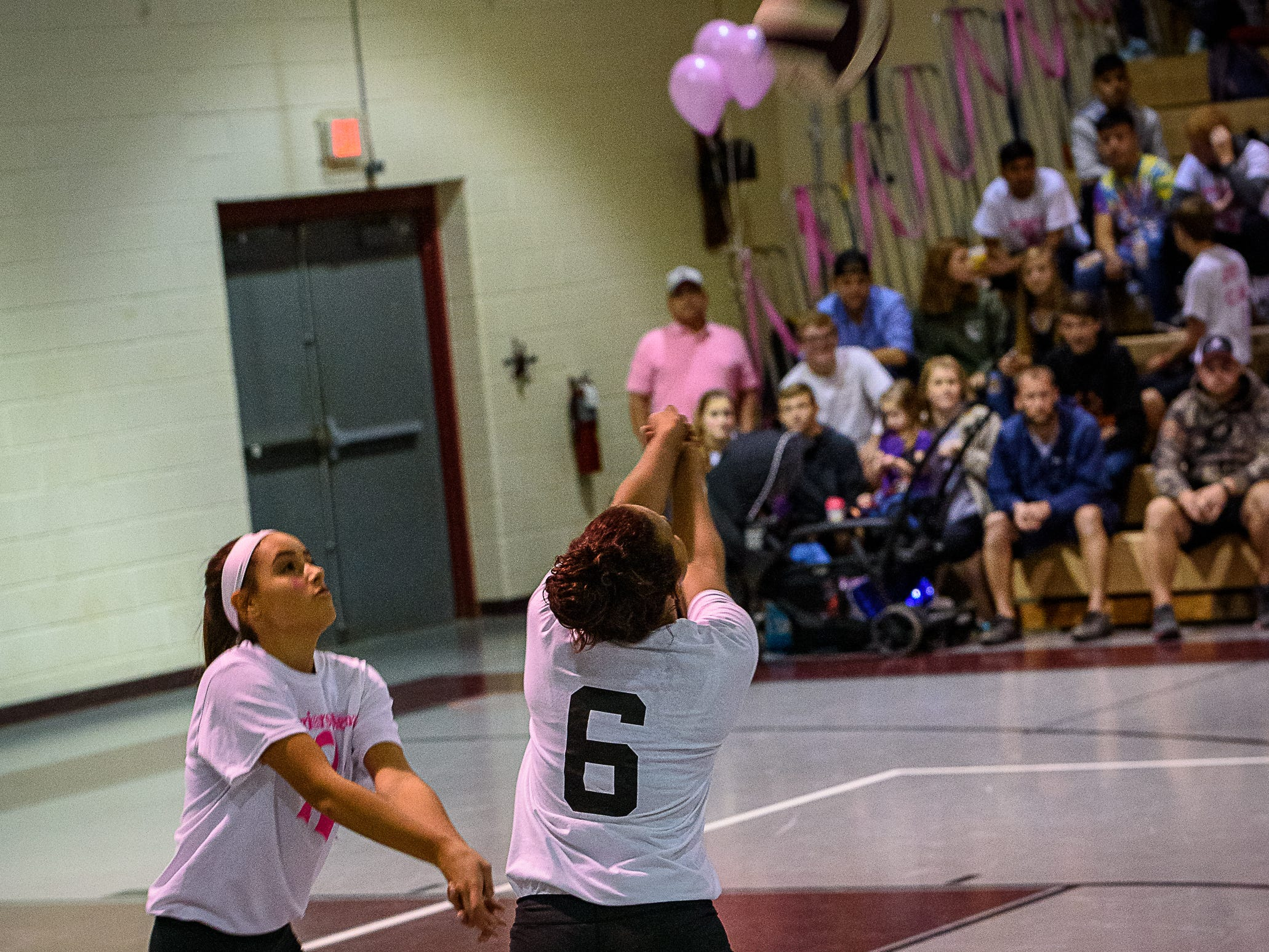 Nandua's Arianna Fletcher with the bump shot against Chincoteague as  Parker Murphy looks on during their game Oct. 25, 2018.