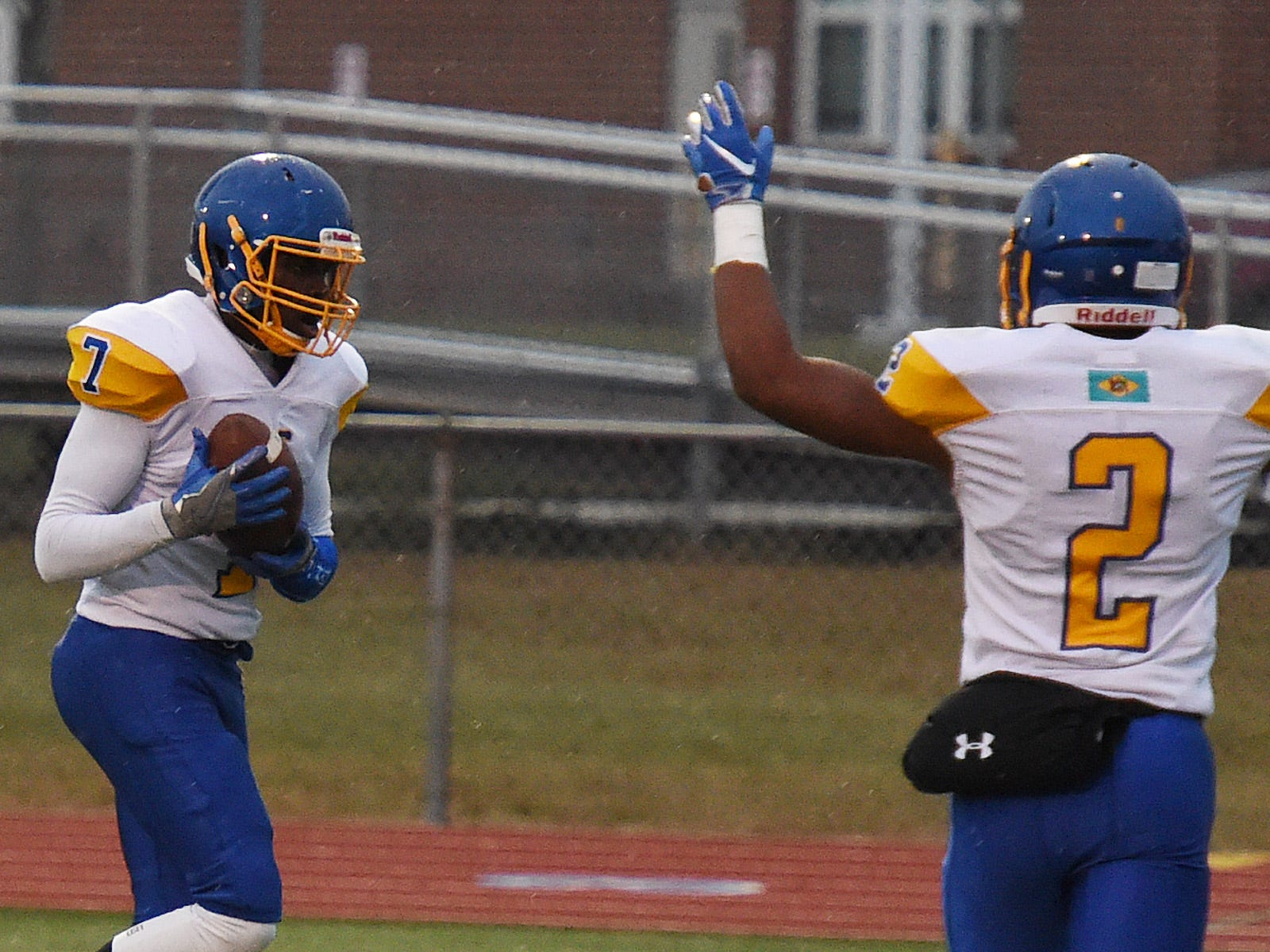 Sussex Central's Dom Smith, No. 7, makes a touchdown during the 43-0 win over Cape Henlopen in Lewes on  Oct. 26, 2018.