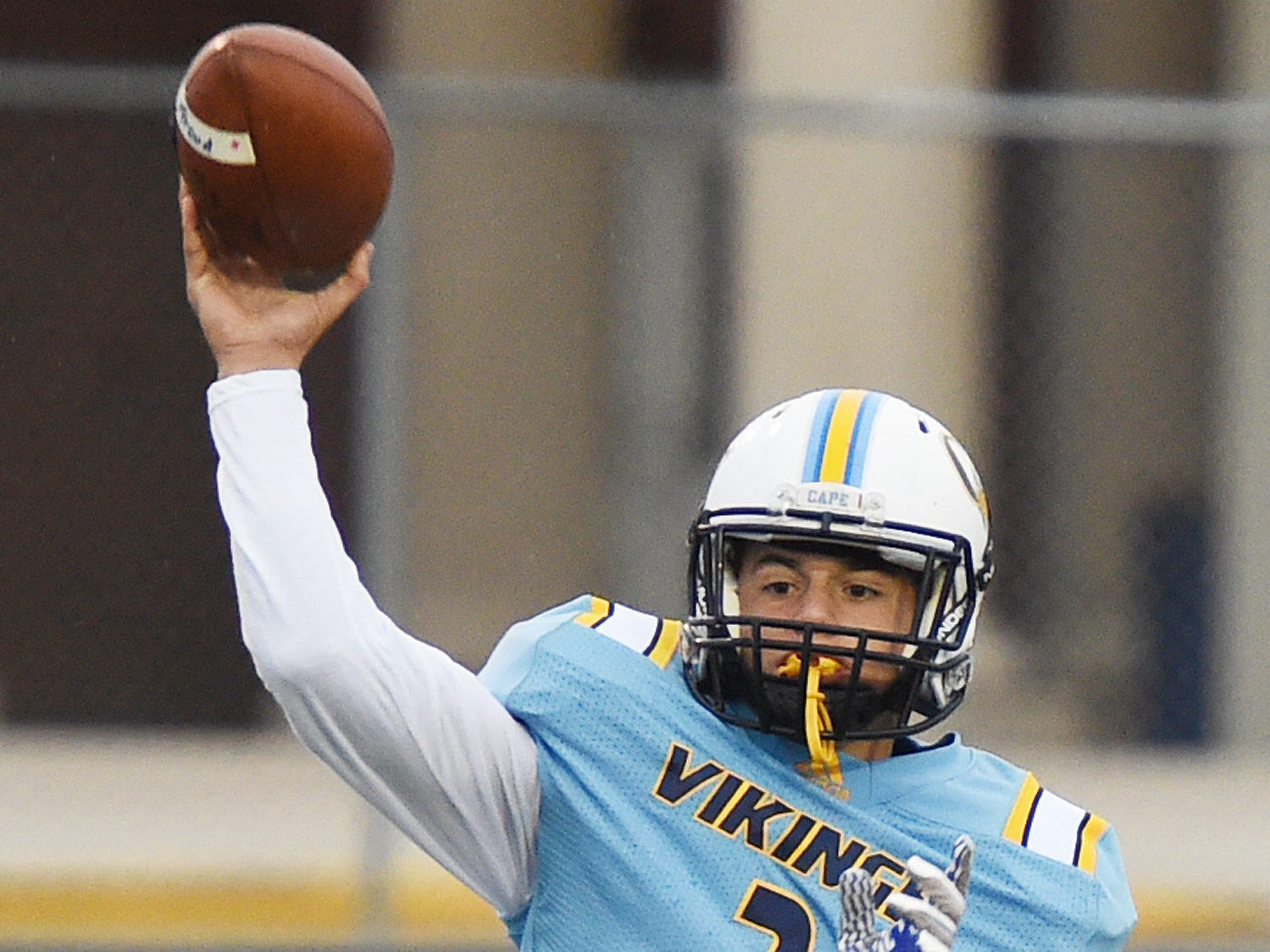 Cape Henlopen quarterback Samuel Jones throws the ball during the Oct. 26, 2018, loss to Sussex Central in Lewes.