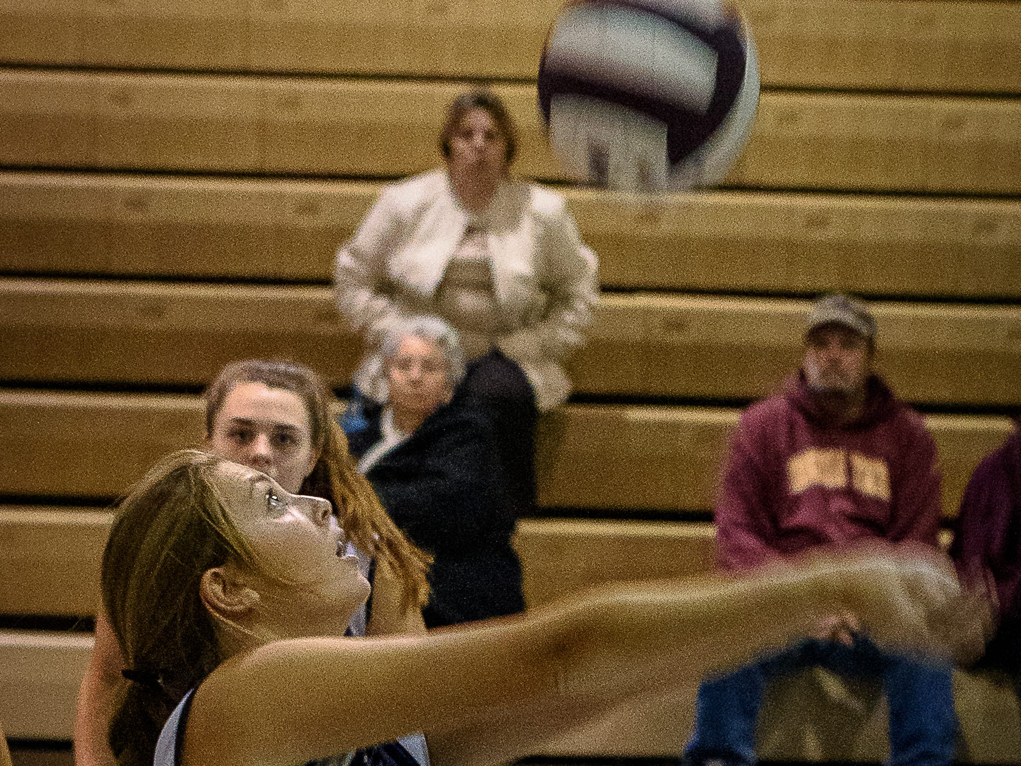Tylar Libertino of Chincoteague bumps the ball during the game against Nandua on Oct. 25, 2018.