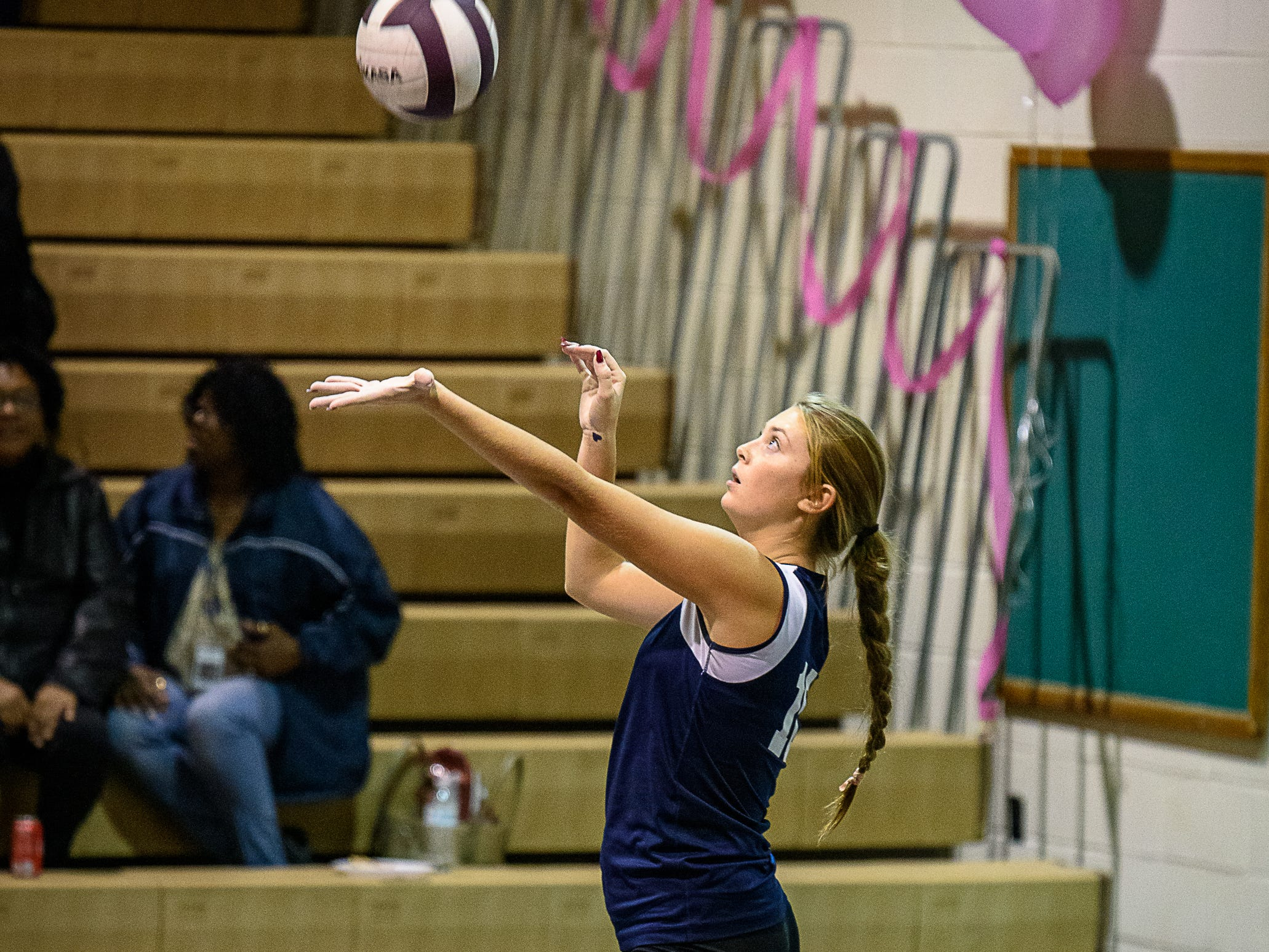 Tylar Libertino of Chincoteague with the serve against Nandua on Oct. 25, 2018.